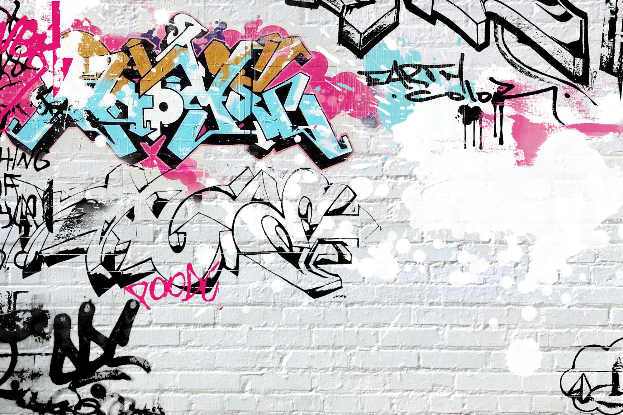 white-brick-graffiti